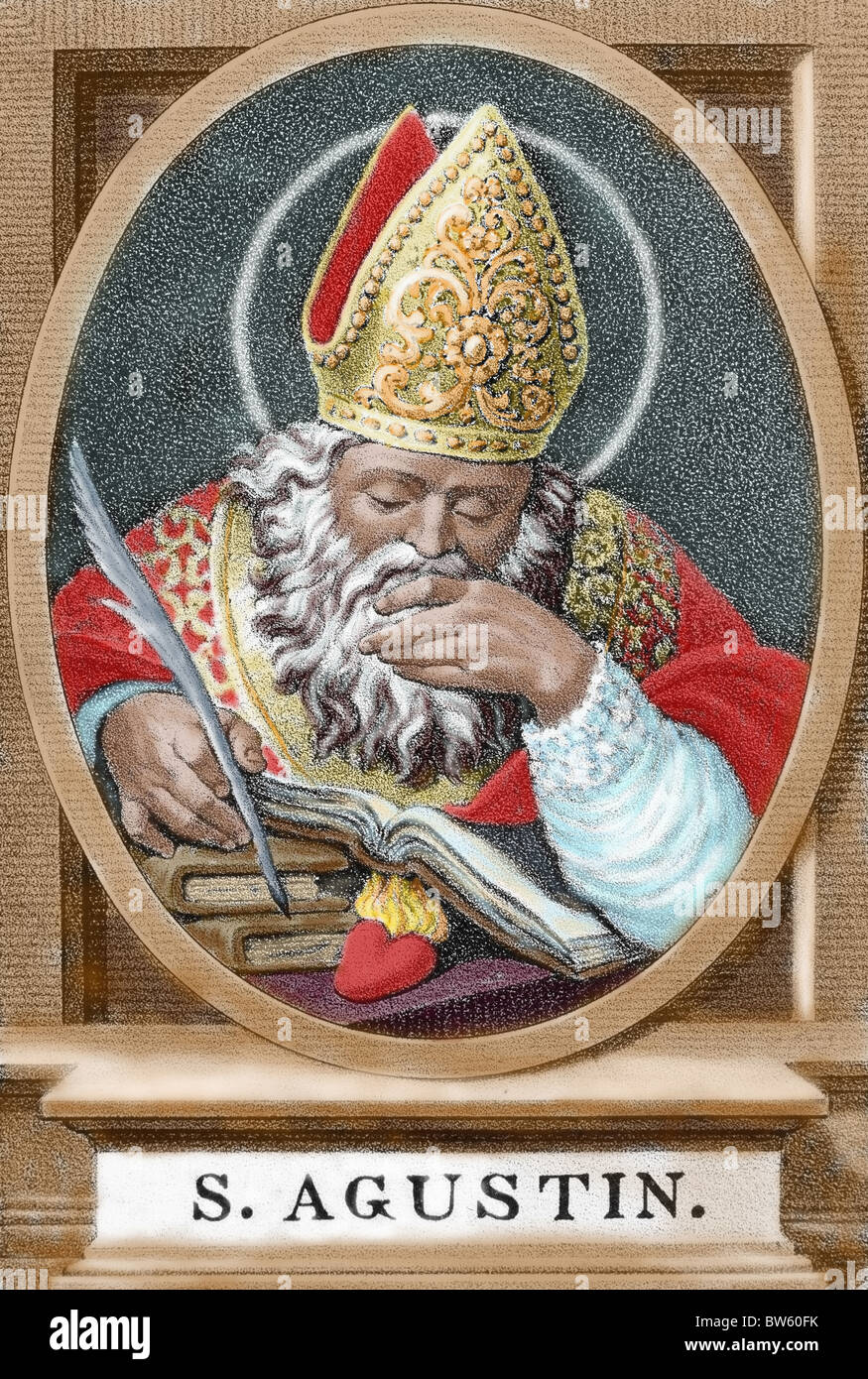 St. Augustine (354-430). African bishop, doctor and father of the church. Colored engraving. Stock Photo