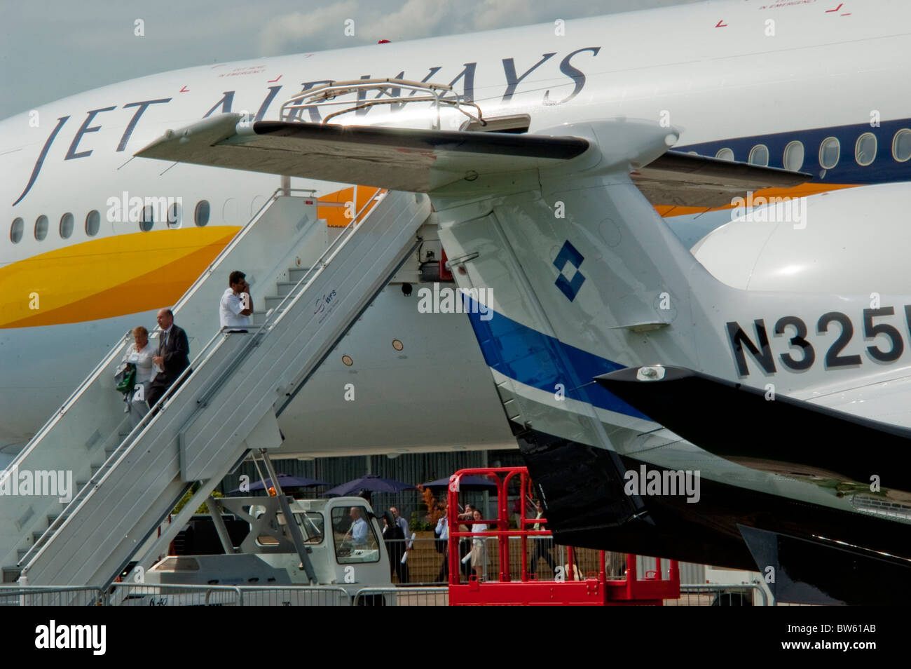 Paris, France, Trade Show,  Jet Airways, Aeroplanes on Display,  at the Bourget Airport, - Stock Image