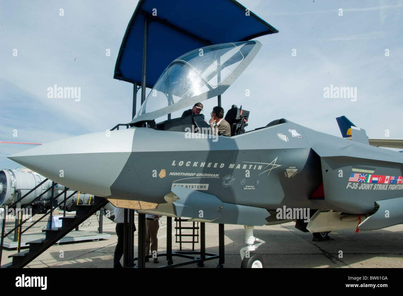 Paris, Fra-nce, Public Events, Businessmen at Paris Air Show at the Bourget Airport, Looking at 'Lockheed Martin' - Stock Image