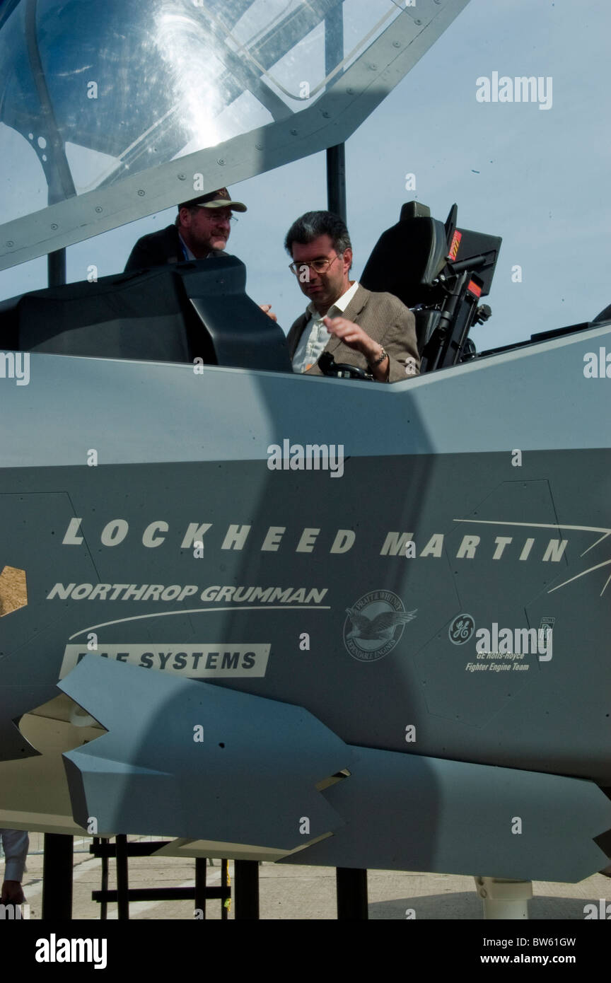 Paris, France, Public Events, Businessmen at Paris Air Show at Bourget, Looking at 'Lockheed Martin' F-35 - Stock Image