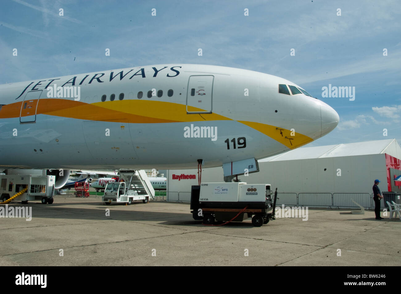 Paris, France,  Jet Airways, Aeroplanes on Display,  at the Bourget Airport, Tarmac - Stock Image