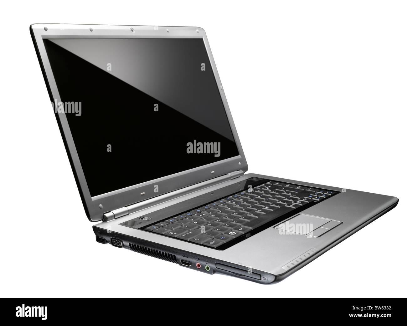 An open silver laptop computer - Stock Image