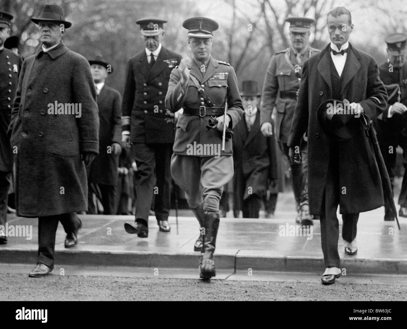 Edward Prince of Wales (later King Edward VIII) arriving for a visit at the American Red Cross in Washington DC - Stock Image
