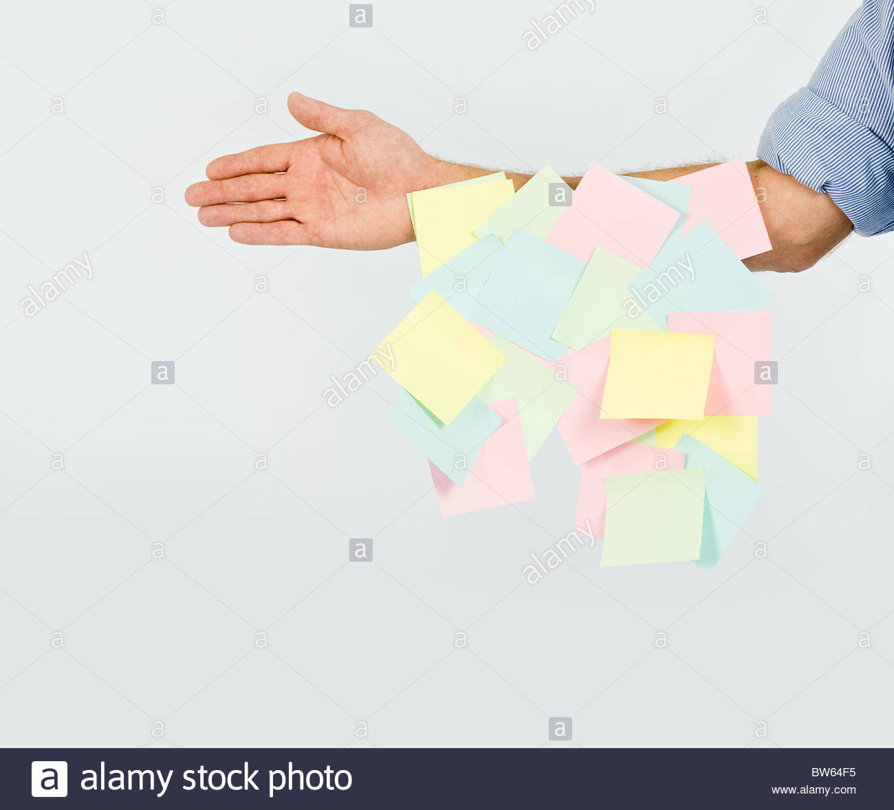 Blank memo post it notes on arm - Stock Image