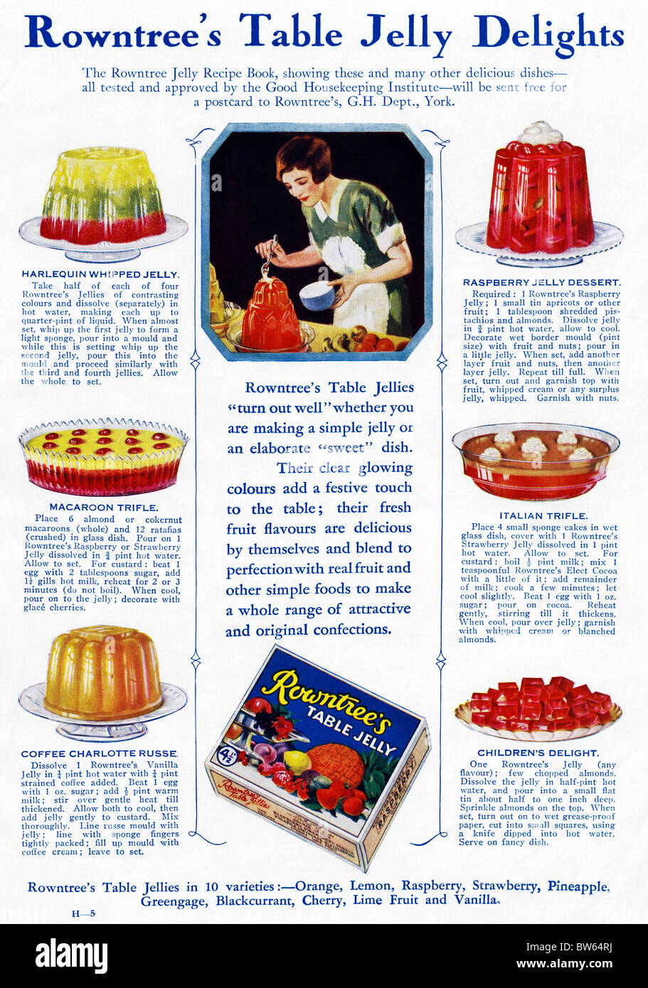 1920s Uk Rowntrees Magazine Advert Stock Photos & 1920s Uk Rowntrees