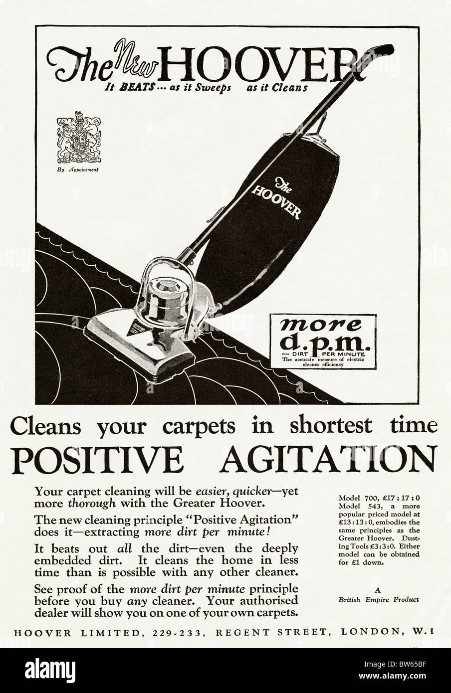 Full Page Advertisement For Hoover Upright Vacuum Cleaner