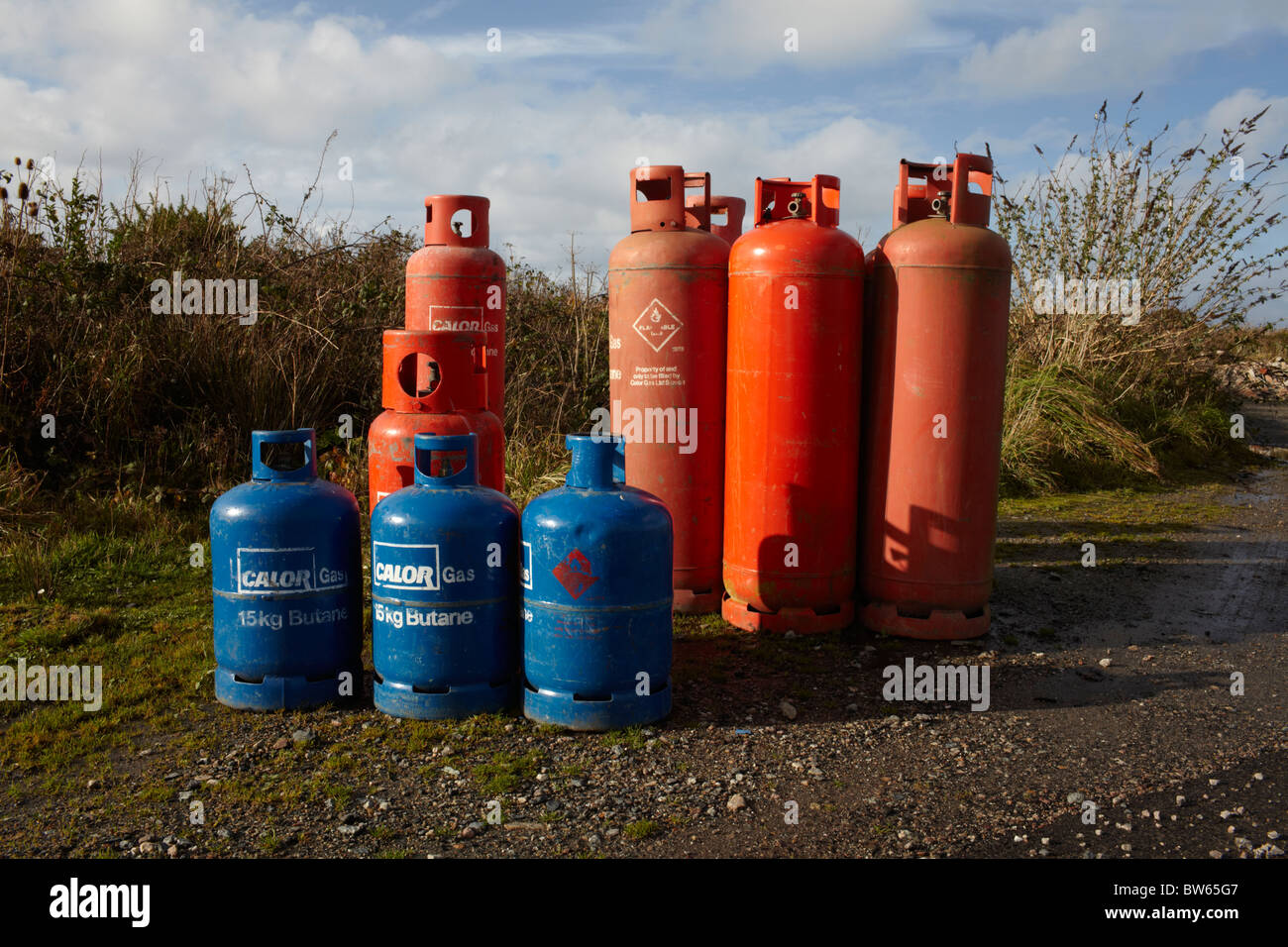 Gas cannisters - Stock Image