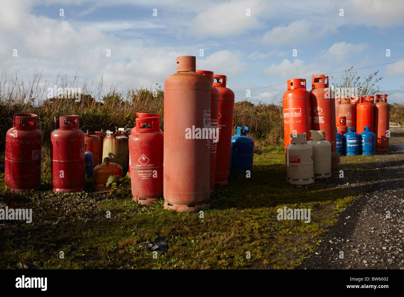 Gas canisters - Stock Image