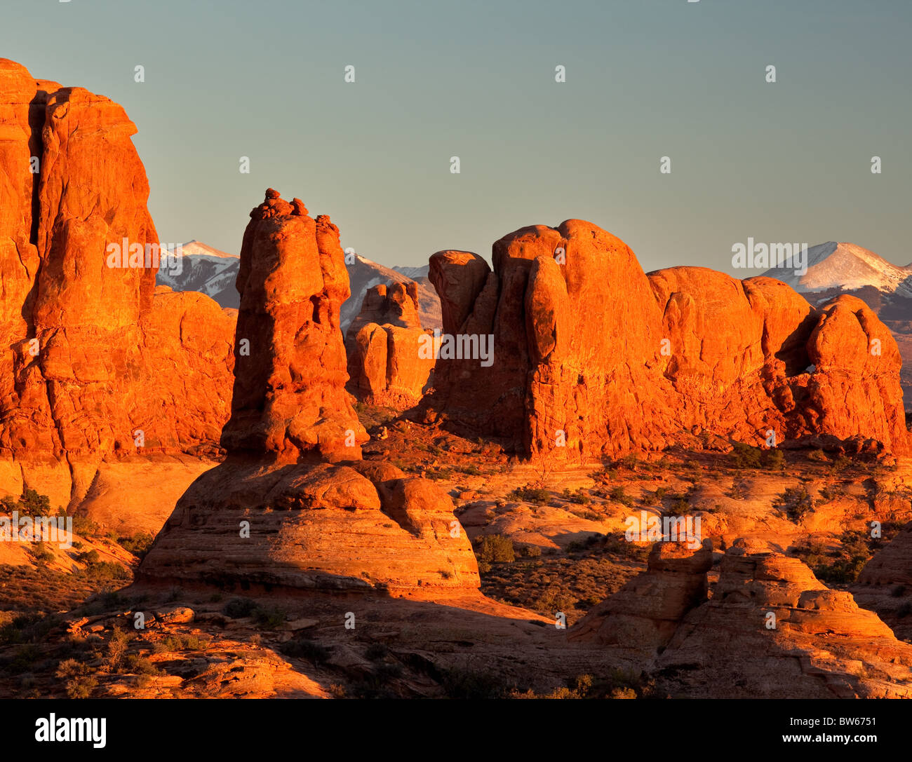 looking into the Windows Section from the Garden of Eden, Arches National Park, Utah - Stock Image