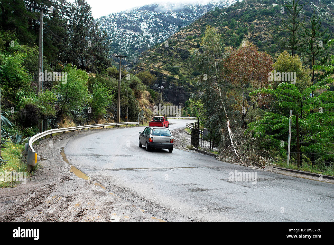 Road with beautiful vegetation in the cordillera of the Andes, winter, tourism Chile Santiago. - Stock Image