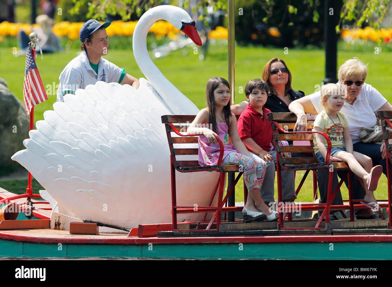 A swan boat, Public Gardens, Boston, Massachusetts - Stock Image
