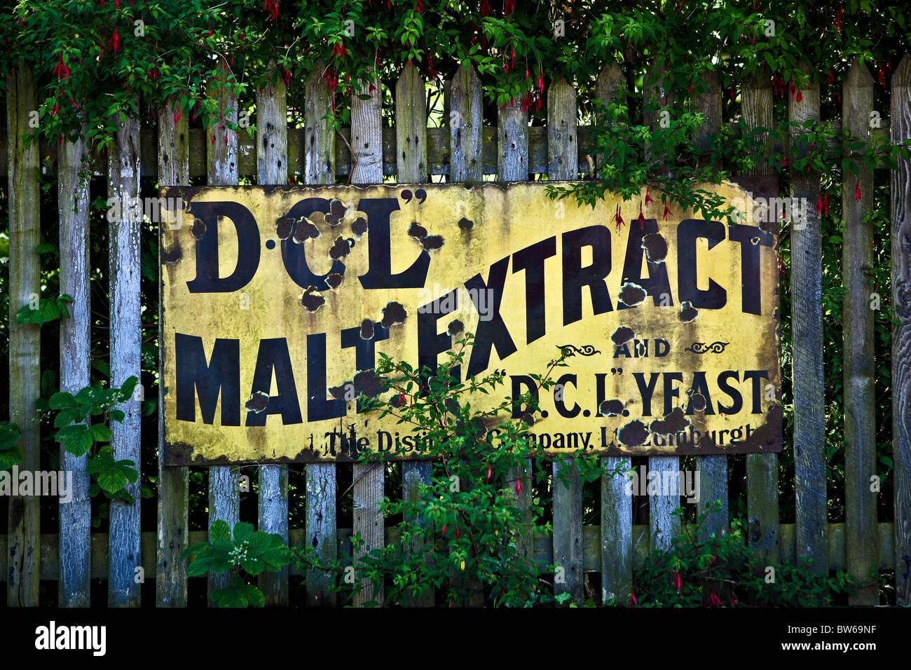 old railway station advert. Caledonian railways.Bridge of Dun railway station Montrose. - Stock Image