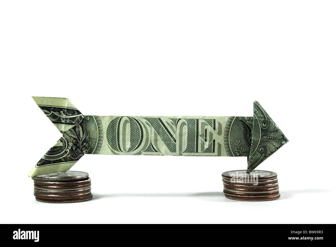 arrow made of usd currency. Shows one way direction - Stock Image