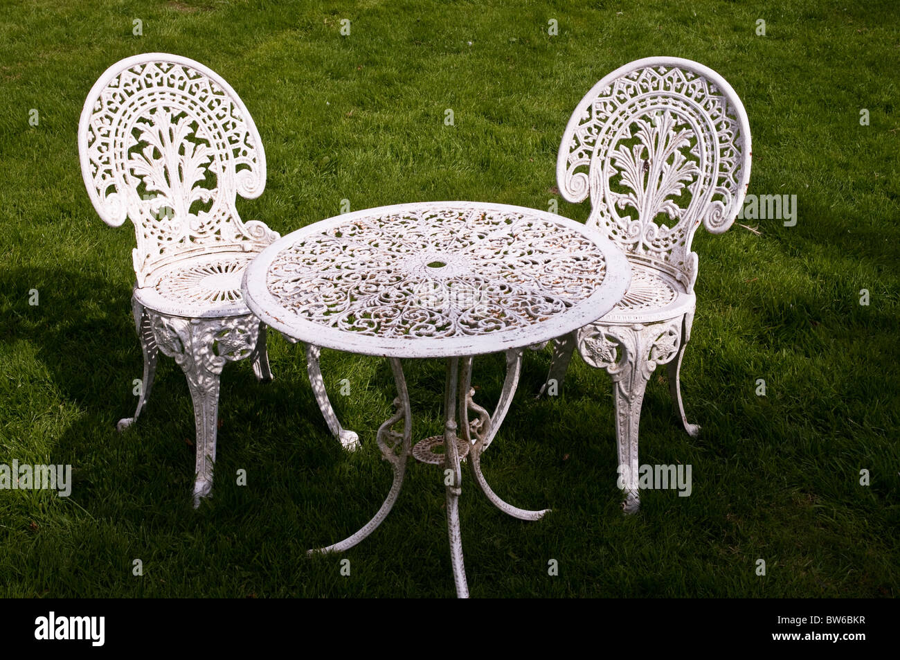 Astounding Old Style Metal Chairs And Table On A Garden Lawn Dartmoor Download Free Architecture Designs Scobabritishbridgeorg