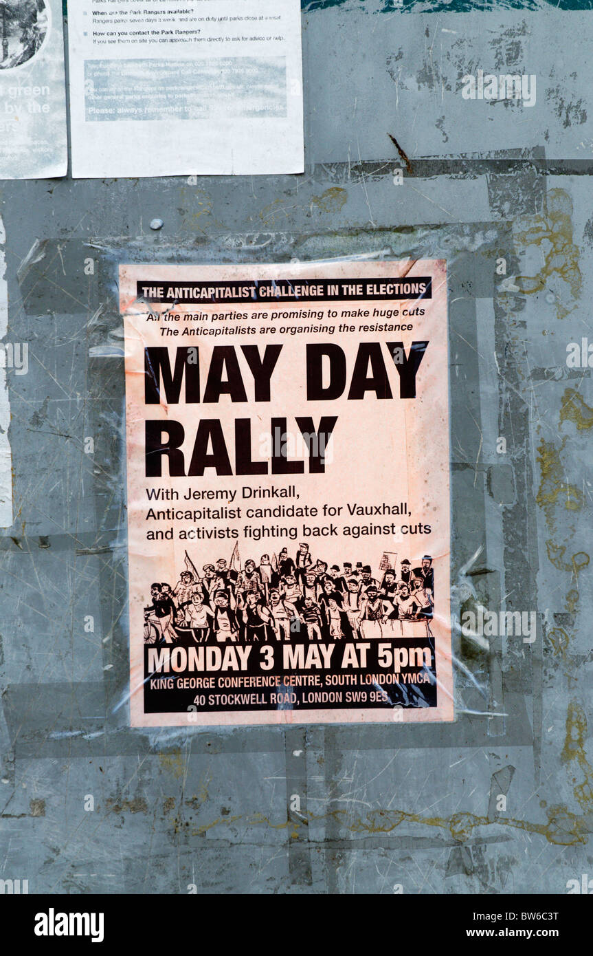 A poster advertising a May Day Rally to protest against cuts in public services. - Stock Image