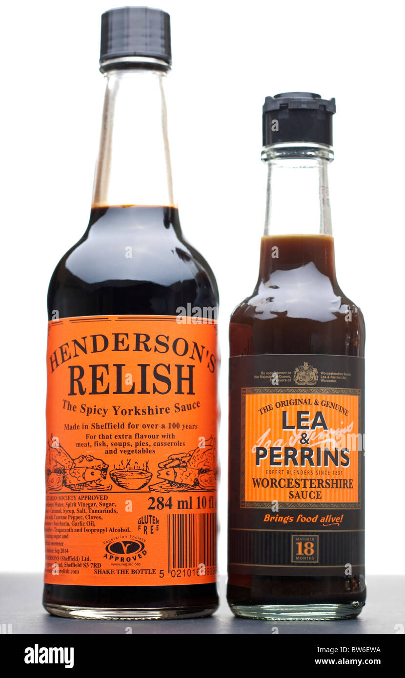 Bottle of Henderson's relish and bottle of Lea and Perrins Worcester sauce - Stock Image