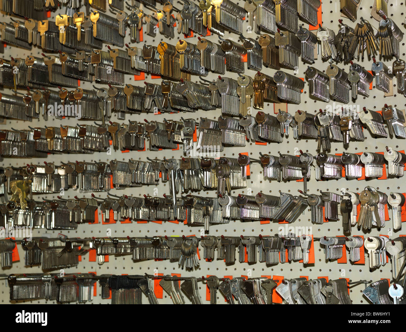 Lots of uncut keys on board - Stock Image