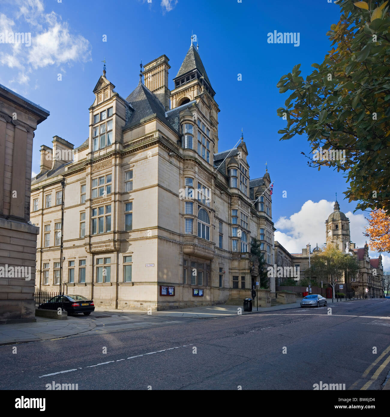 The Town Hall in The Victorian Quarter of Wakefield City Centre, West Yorkshire, U.K - Stock Image