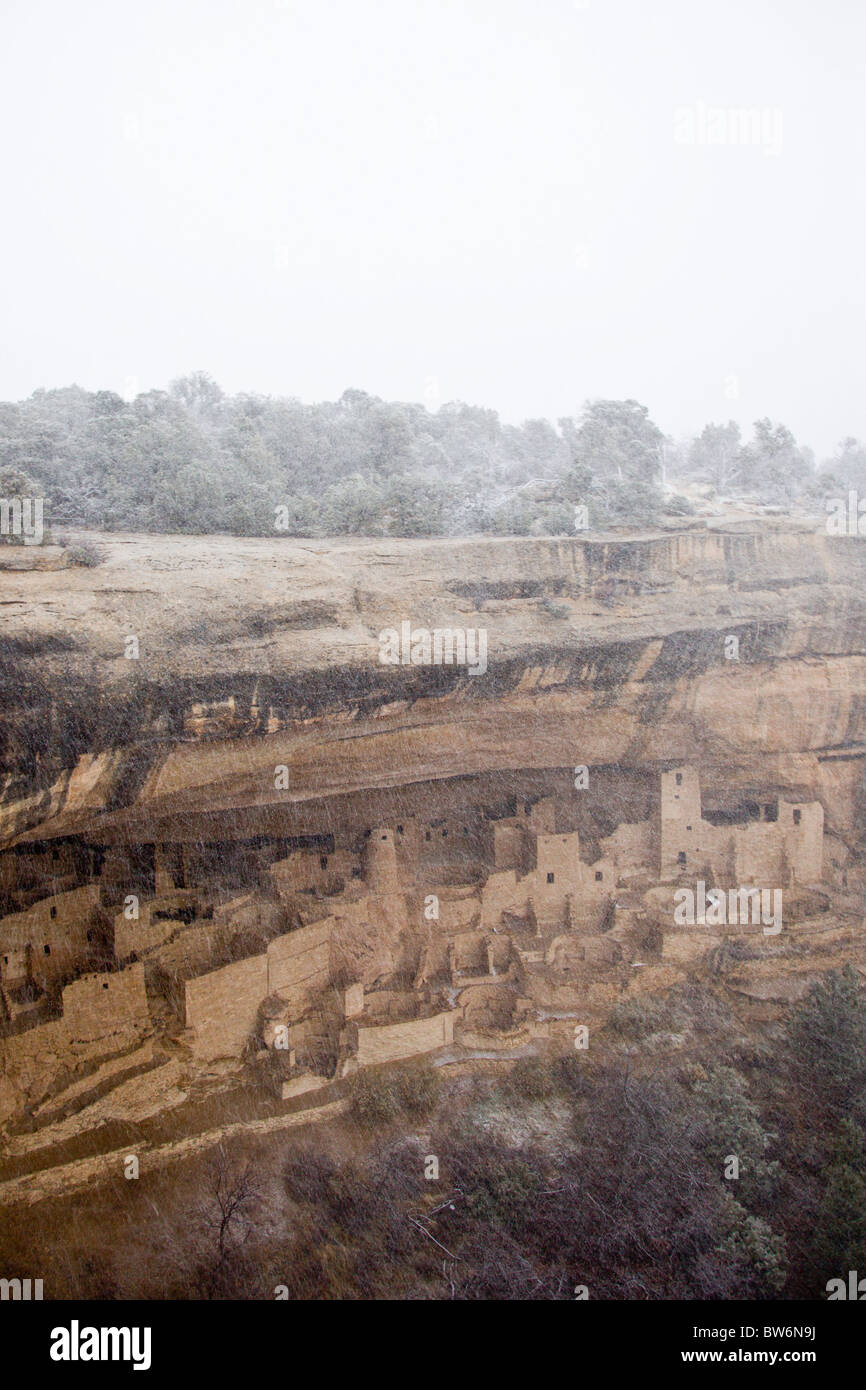 View of Cliff Palace cliff dwellings in a winter snow storm in Mesa Verde National Park, Colorado, USA. - Stock Image