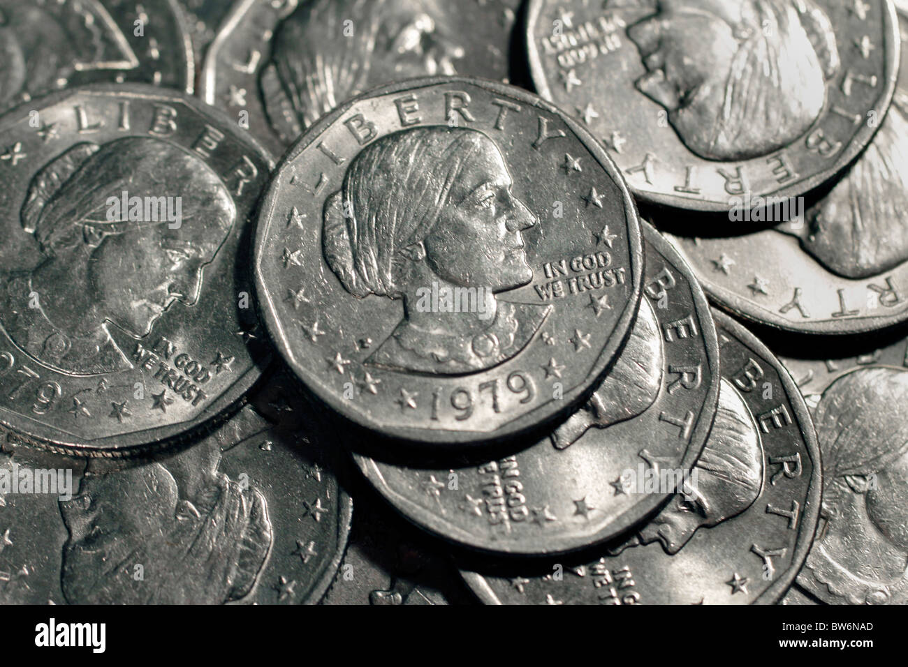 US Dollar coins with the effigy of Susan B  Anthony, issued