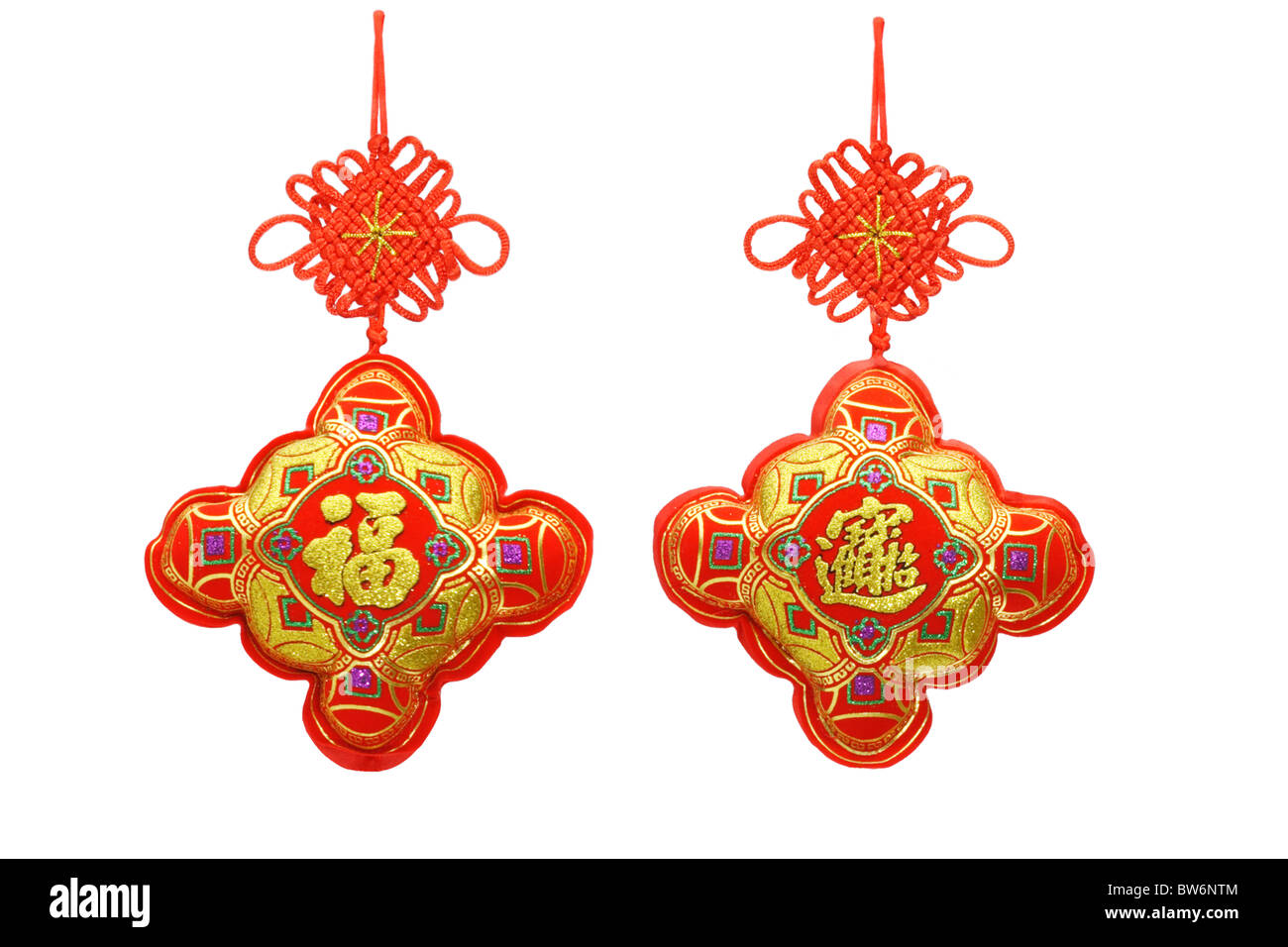 Chinese new year ornaments on white background - Stock Image