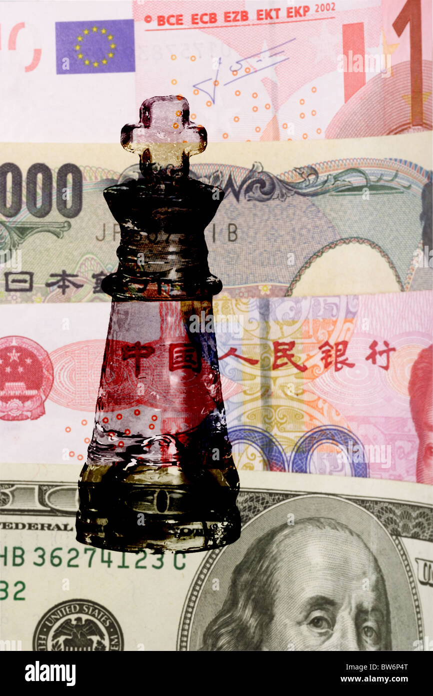 King glass chess piece on major world currencies - Stock Image