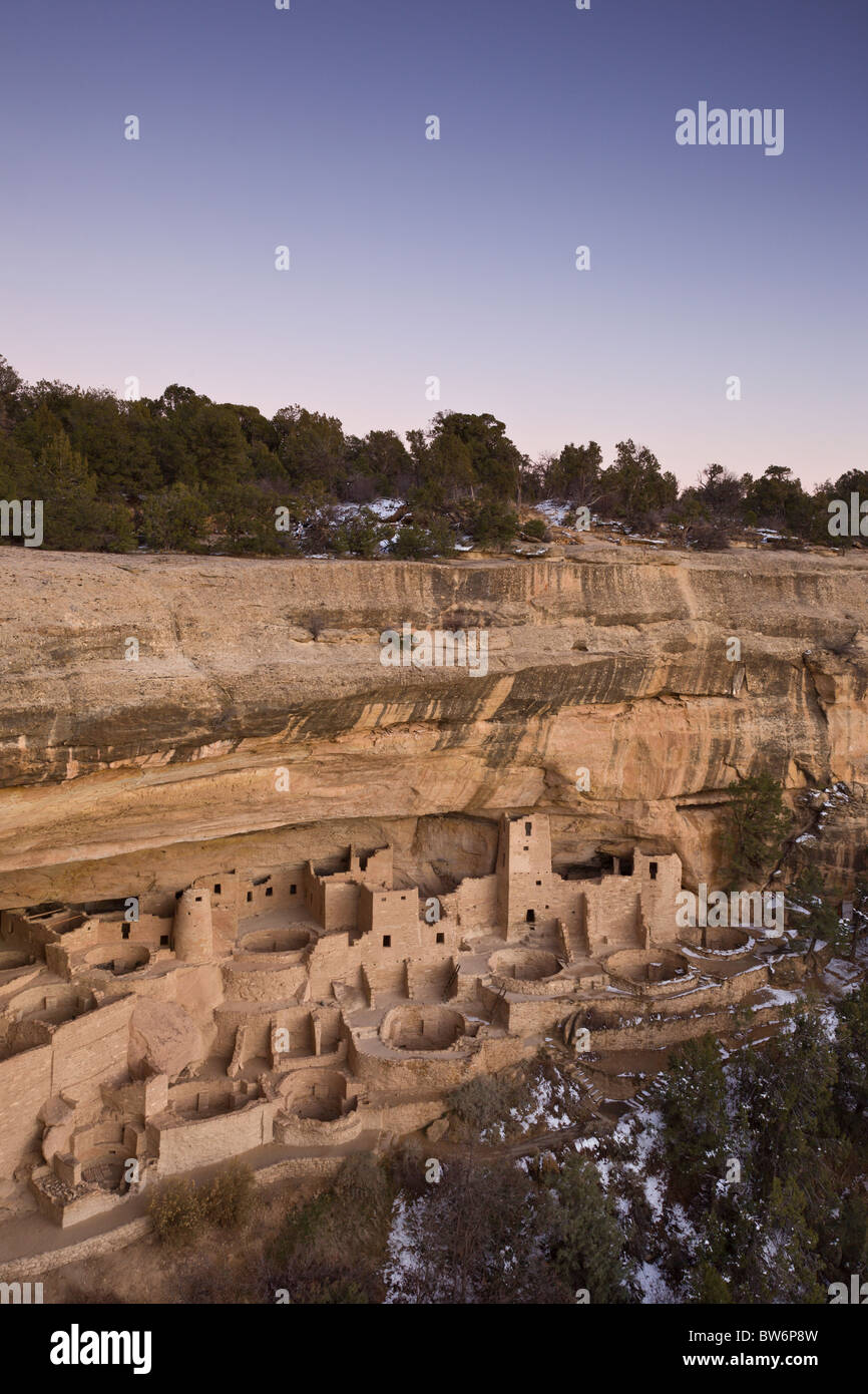 Dusk at the Cliff Palace cave dwelling during winter in Mesa Verde National Park, Colorado, USA. - Stock Image