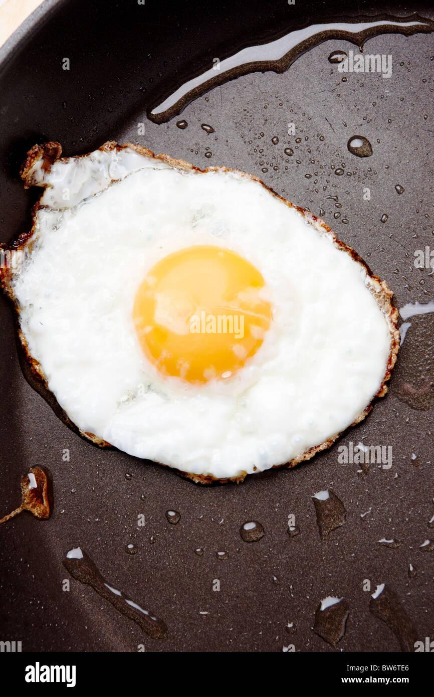 Image of fried egg on Teflon saucepan - Stock Image