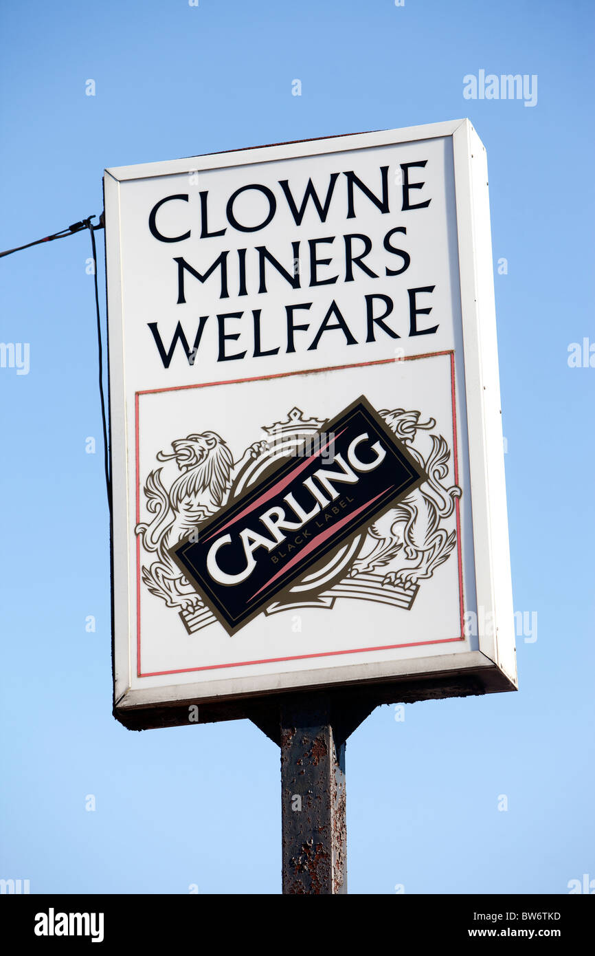 Clowne Miners Welfare sign in the former coal mining community. - Stock Image