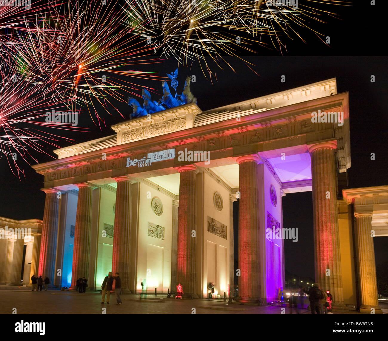 Brandenburg Gate, Berlin, Germany - Festival of Lights 2008 / Brandenburger Tor Stock Photo