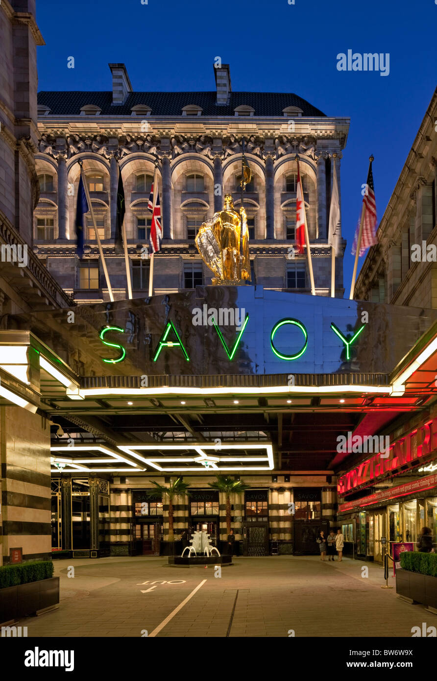 Entrance courtyard to the refurbished Savoy Hotel in London - reopened in October 2010. - Stock Image