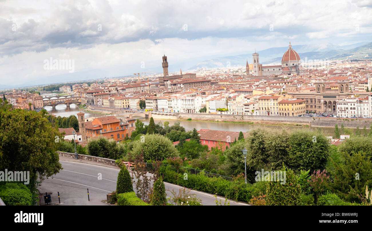 Overview of Firenze from Piazzale Michelangelo Italy - Stock Image