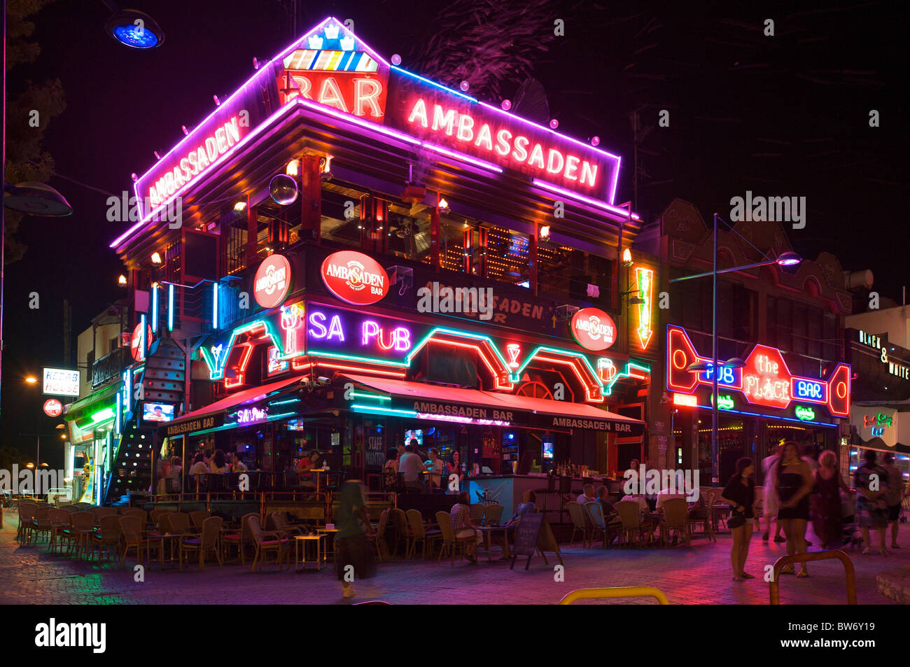 Nightlife, Ayia Napa, Republic of Cyprus - Stock Image