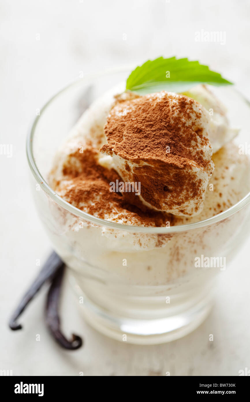 fresh vanilla mousse, with cocoa powder as garnish - Stock Image