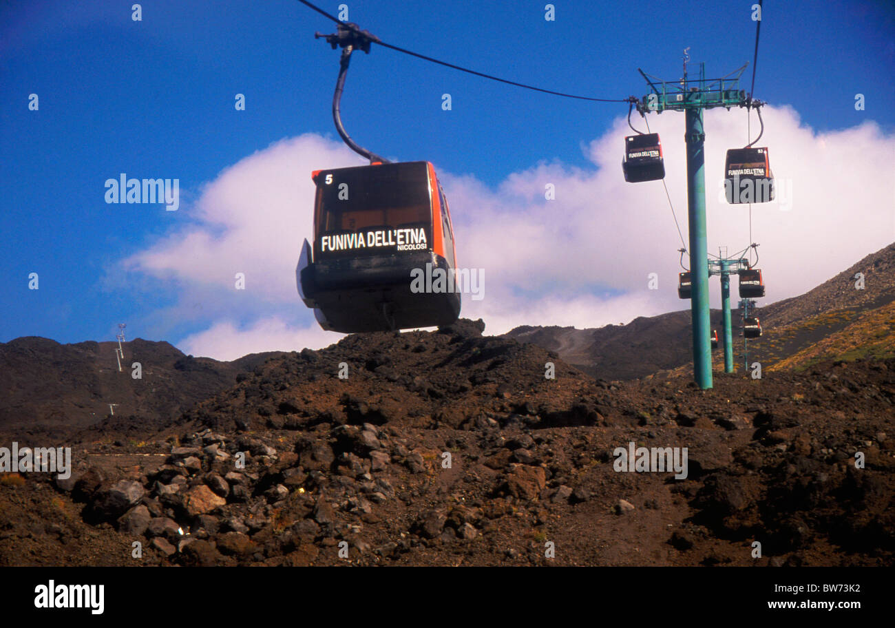 Mount Etna cable car above lava field in Sicily Italy - Stock Image