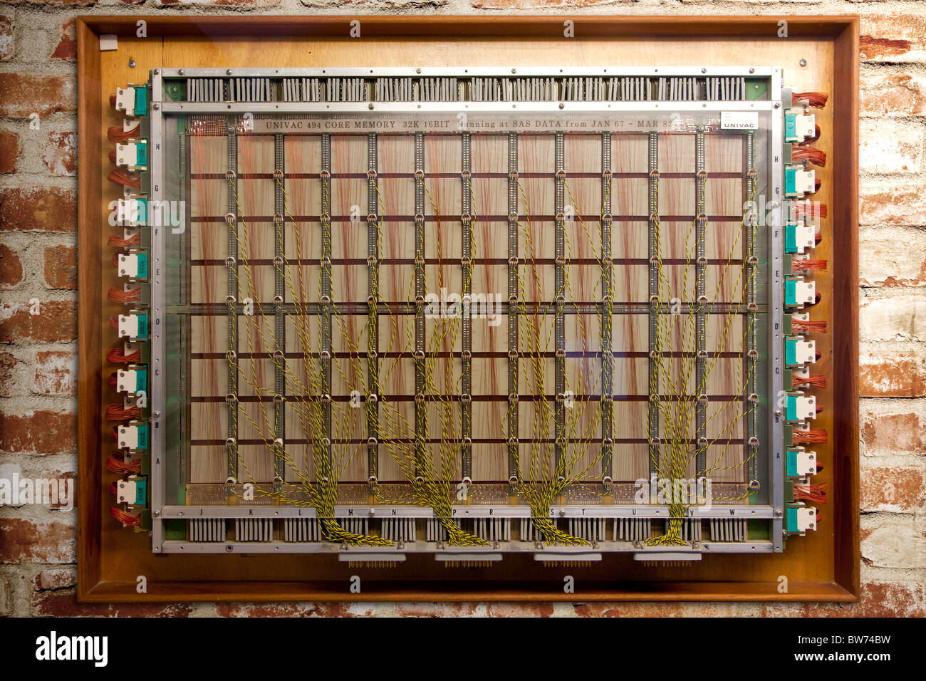 Module of 32 kilobyte 16 bit Univac core memory from 1967 - Stock Image