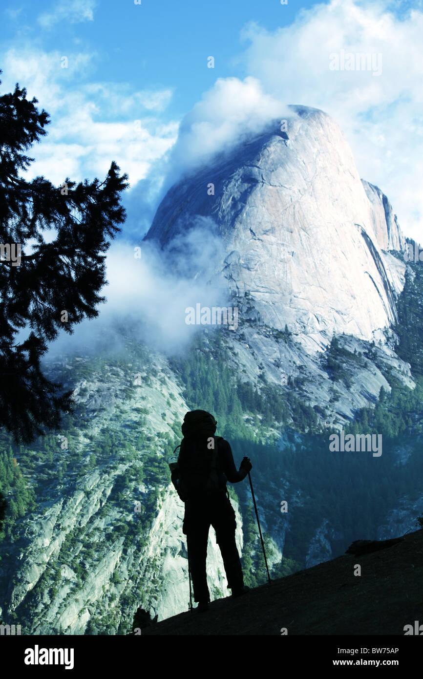Hike in Yosemite mountains - Stock Image