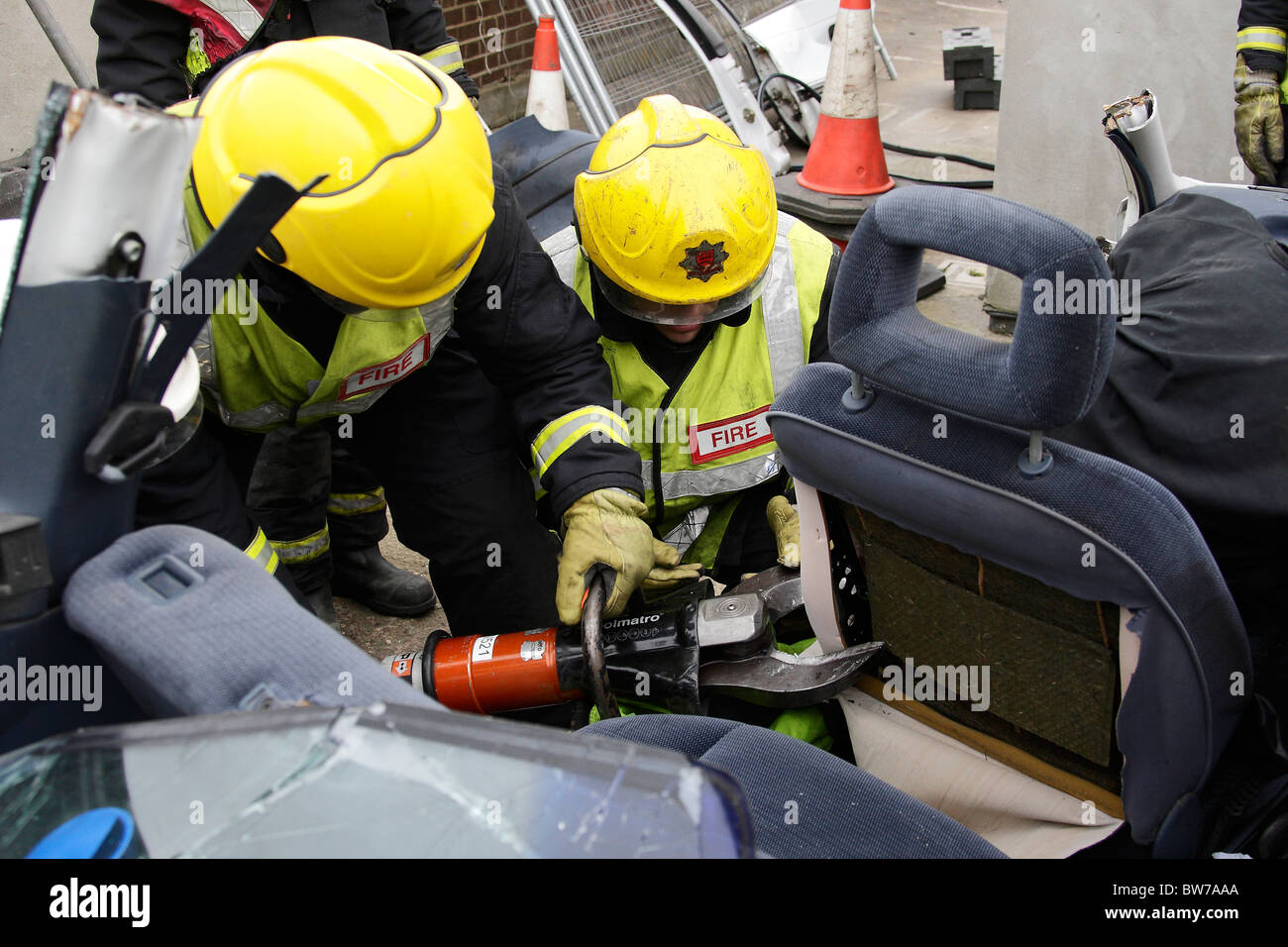 Firefighters using Holmatro rescue tools Stock Photo: 32738562 - Alamy