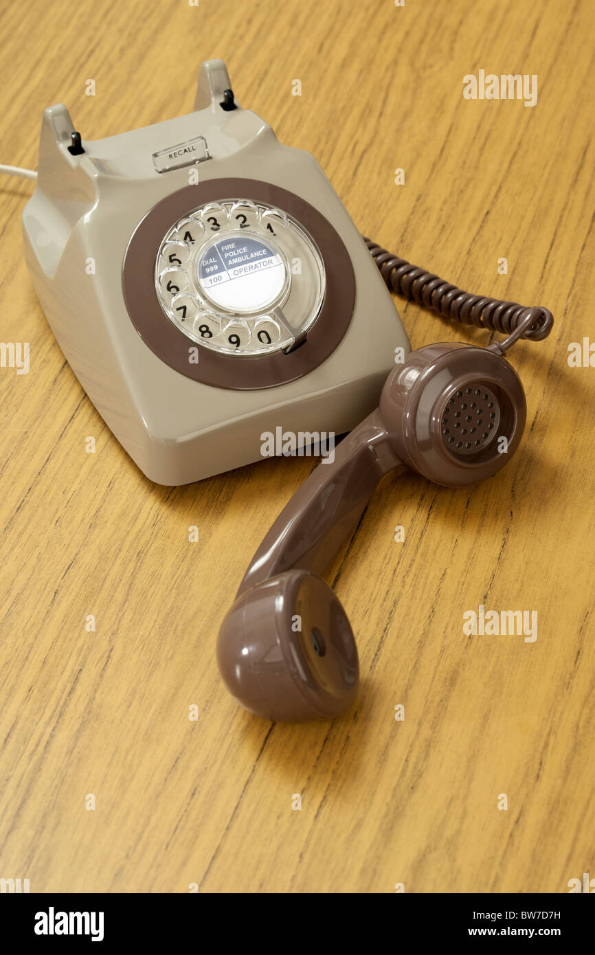 old retro gpo 746 british telecom rotary dial phone - Stock Image