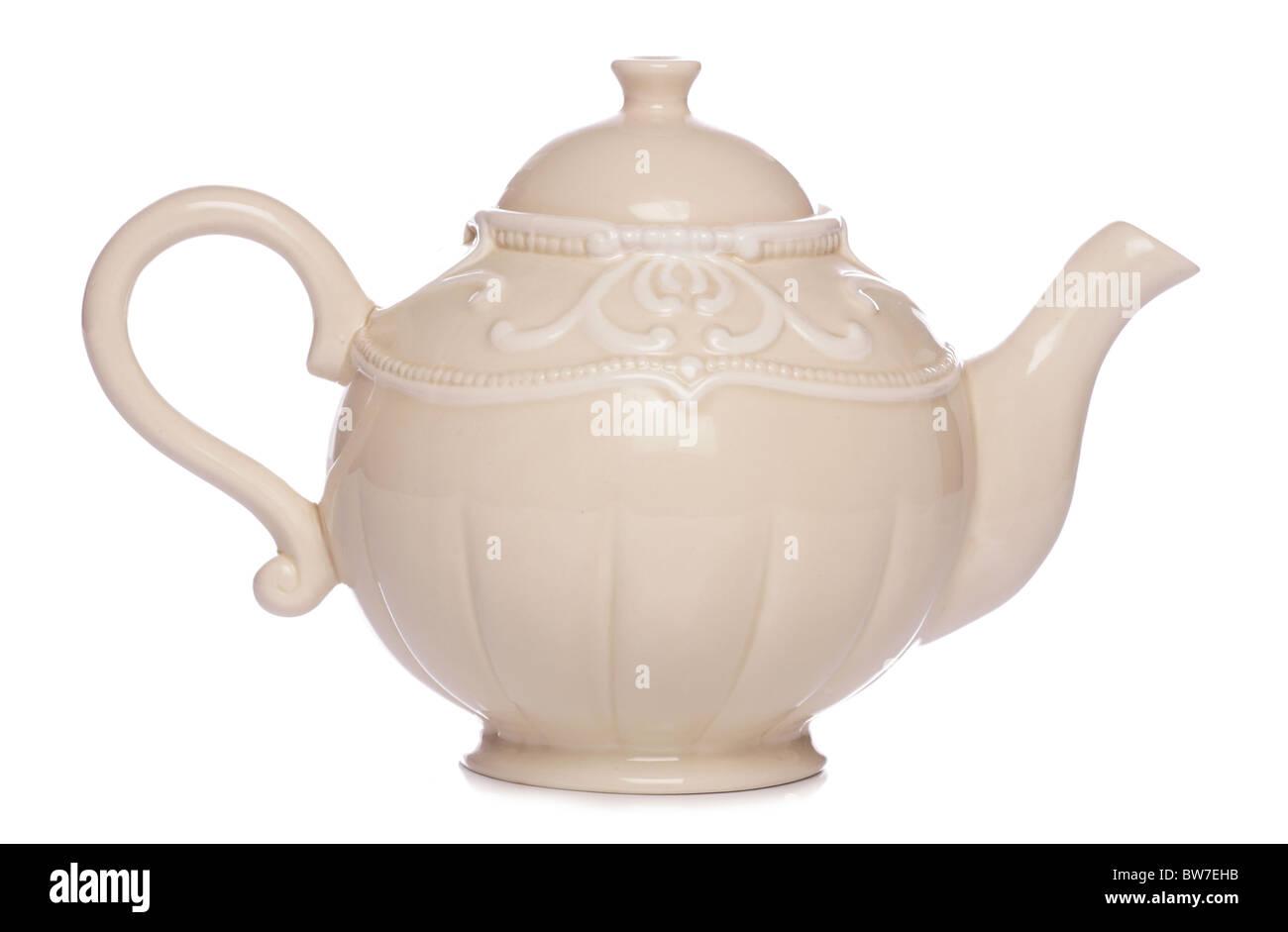 cream tea pot studio cutout - Stock Image