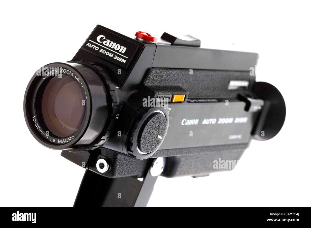 super8 cine home movie camera made by canon on white background - Stock Image