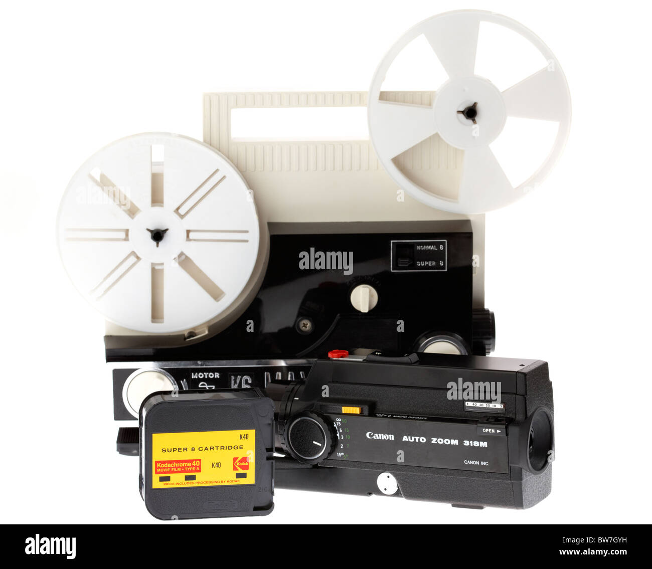 super8 cine home movie camera made by canon kodak kodachrome film cartridge and movie projector - Stock Image