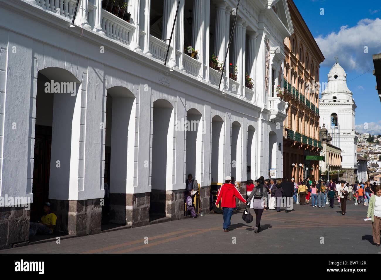 Coupe Walking Colonial Architecture Quito Ecuador Stock Photo