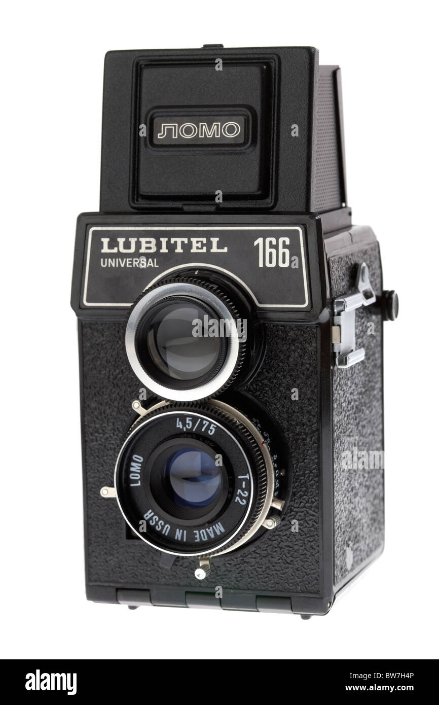vintage lubitel 166 universal medium format film camera manufactured in the old soviet union - Stock Image