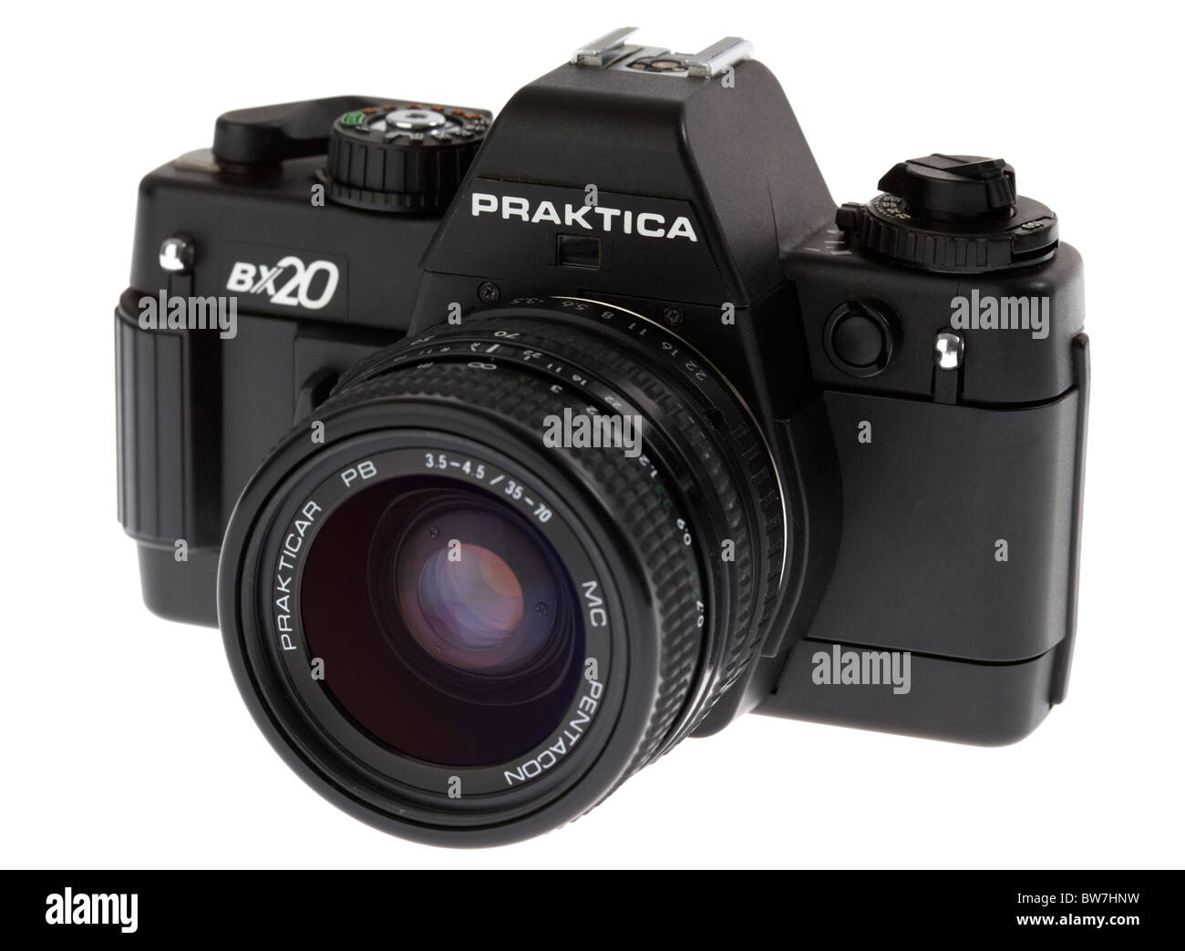 praktica bx20 35mm slr film camera manufactured in east germany in the 1980s with lens Stock Photo