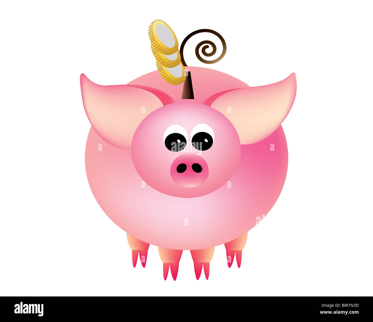 Piggy bank with coins on a white background. - Stock Image