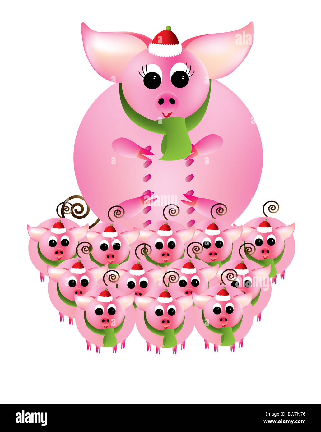 Merry Christmas from pink piggies on a white background - Stock Image