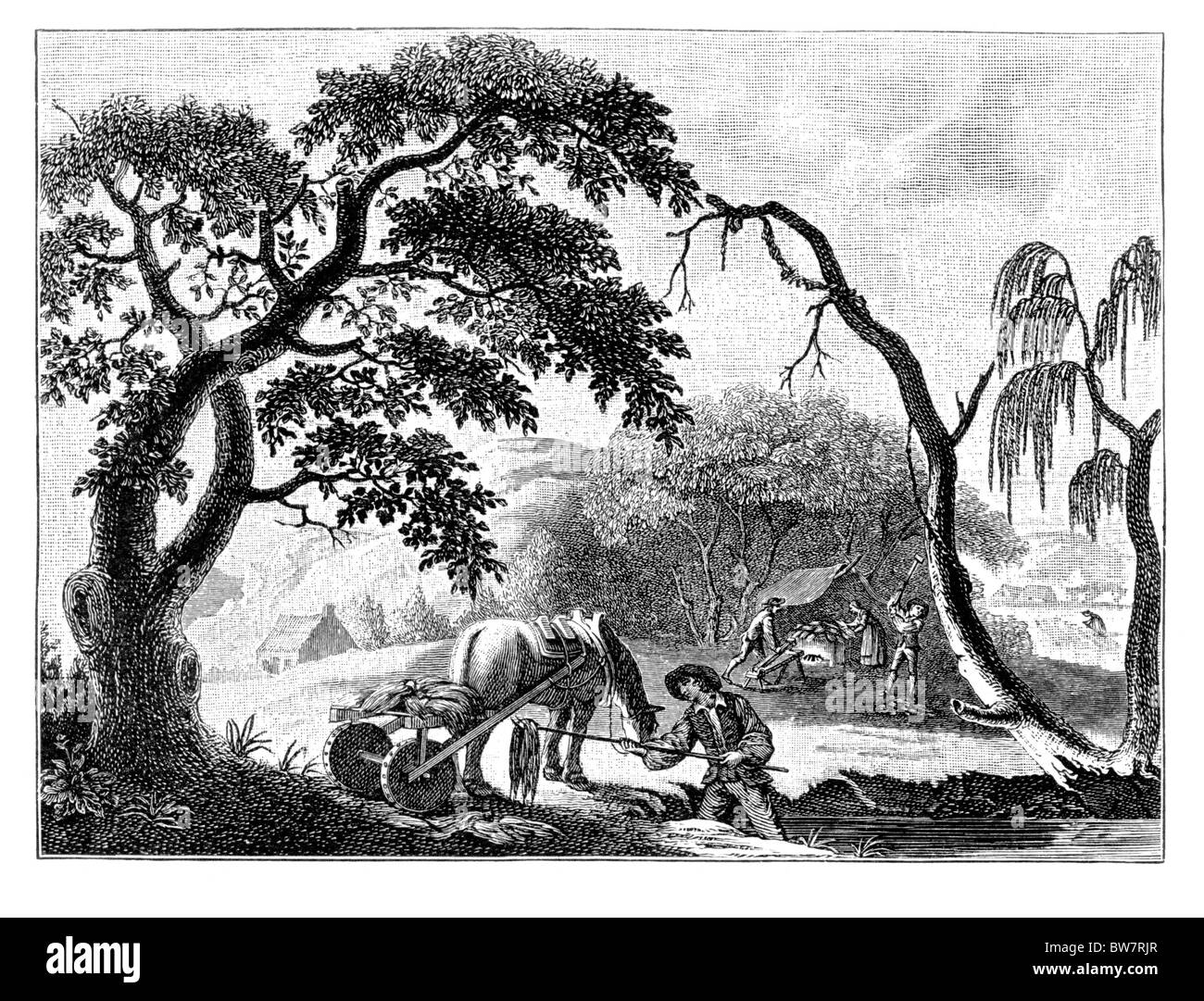 The Linen Industry in the 18th Century; Taking flax out of bog, spreading to dry, storing, beetling and breaking; - Stock Image