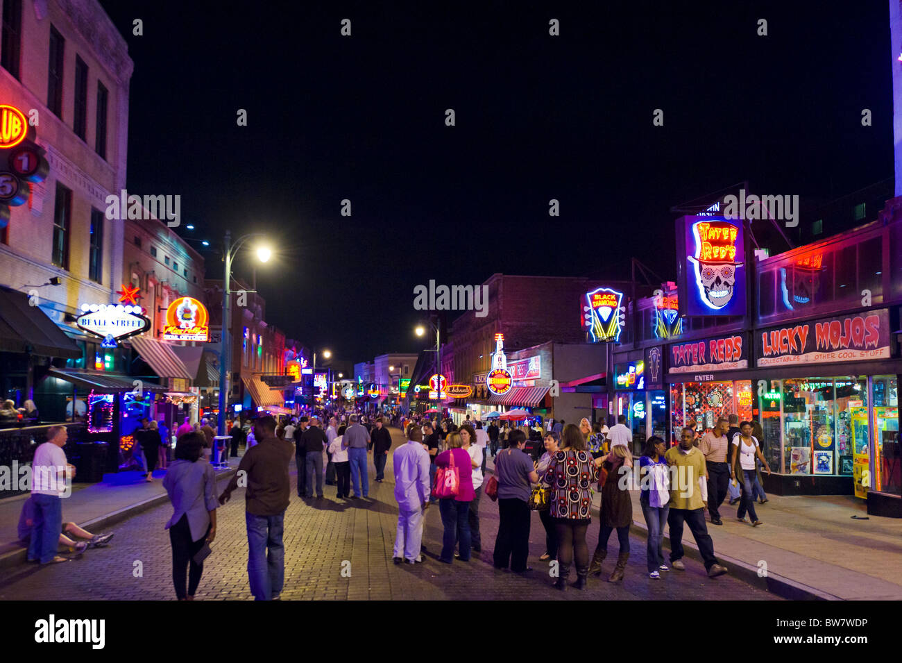 Beale Street at night, Memphis, Tennessee, USA - Stock Image