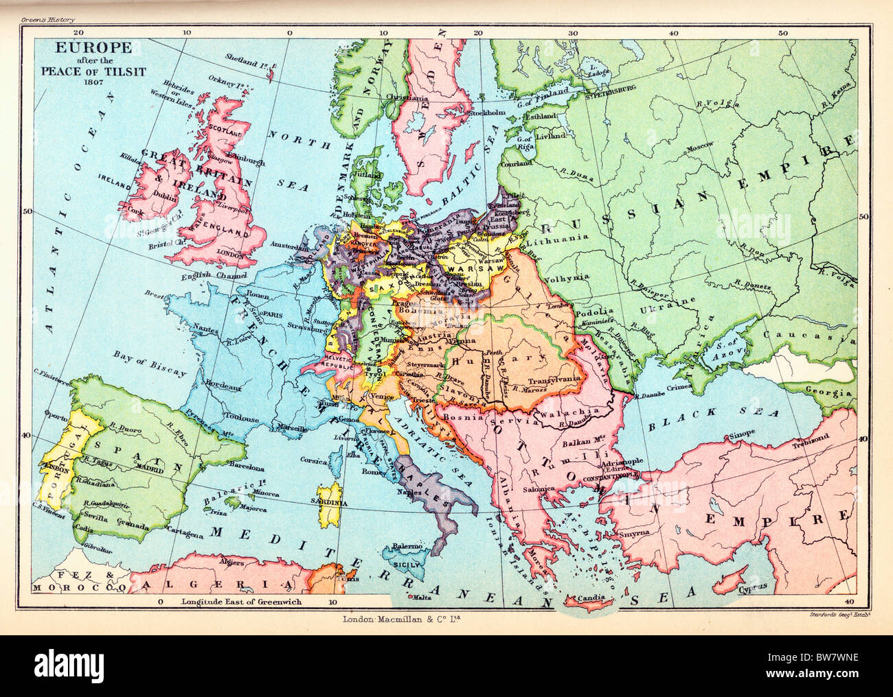 A Map of Europe after the Peace of Tilsit, 1807; Colour Illustration; - Stock Image